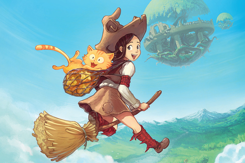 "The witch ""Pepper"" and her cat ""Carrot"" on a flying broom."